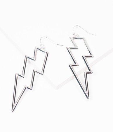Silver Lighting Bolt Earrings