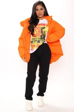 Winter Nights Puffer Coat - Orange - Jackets & Coats - Fashion Nova
