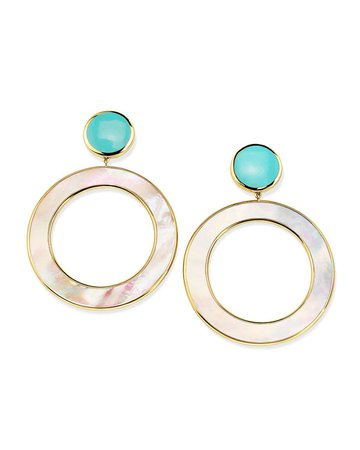 Ippolita 18K Polished Rock Candy Mother-of-Pearl & Turquoise Dot & Circle Earrings