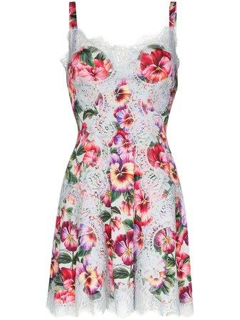 Dolce & Gabbana Robe à Fleurs Bordée De Dentelle - Farfetch