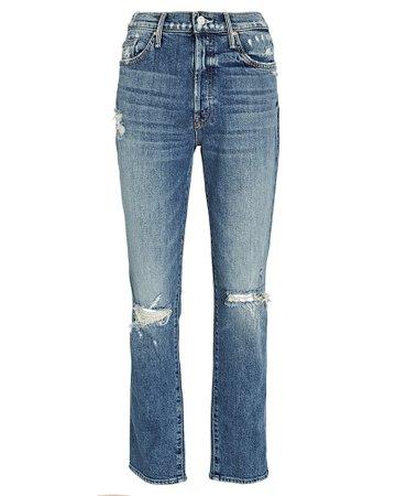 MOTHER Trickster Distressed Straight-Leg Jeans   INTERMIX®