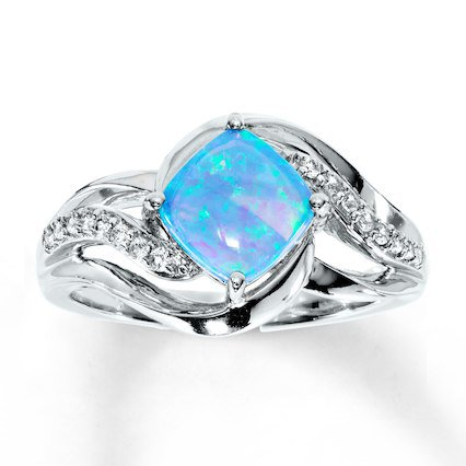 Lab-Created Blue Opal/Lab-Created Sapphire Ring Sterling Silver - 375296302 - Kay
