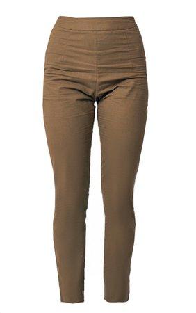 Khaki Woven Linen Straight Leg Trousers | PrettyLittleThing USA