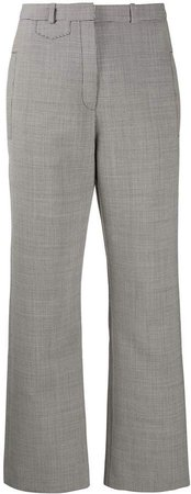 houndstooth check wide leg trousers