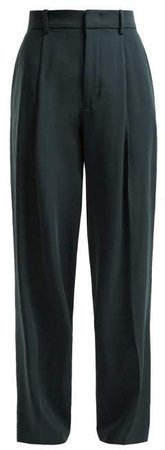 Riska Virgin Wool Trousers - Womens - Dark Green