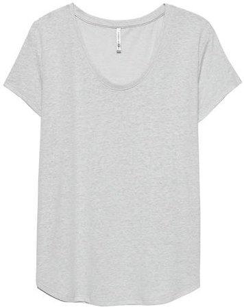 Linen-Blend Scoop-Neck T-Shirt