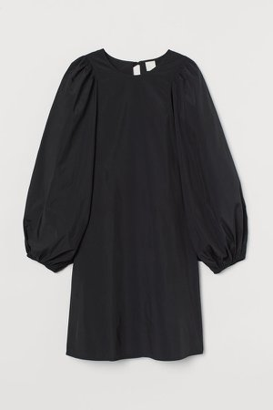 Puff-sleeved Dress - Black