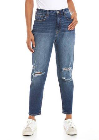 TRUE CRAFT Destructed Mom Jeans