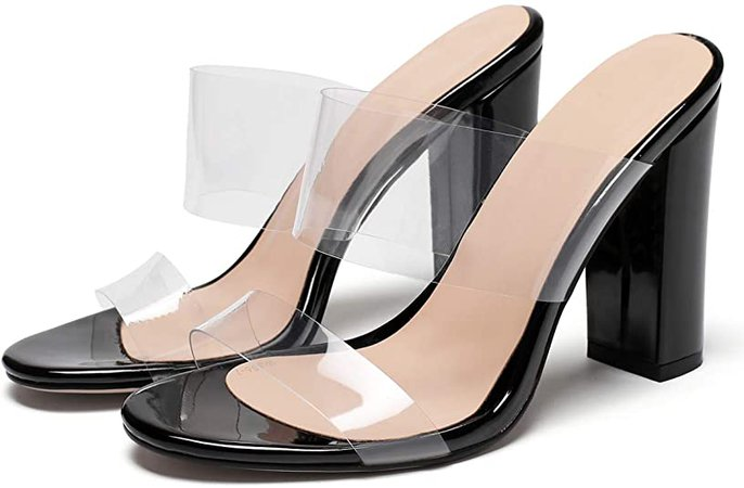 """*clipped by @luci-her* Clear Open Toe Double Straps Chunky Heels Mules 4"""" High Heels"""