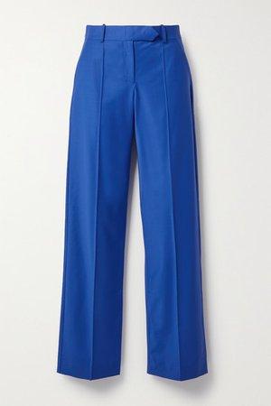 Wool-blend Straight-leg Pants - Cobalt blue