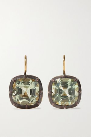 Gold Collection silver-topped 18-karat gold quartz earrings | Fred Leighton | NET-A-PORTER
