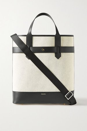 Pacific Leather-trimmed Canvas Tote - Black