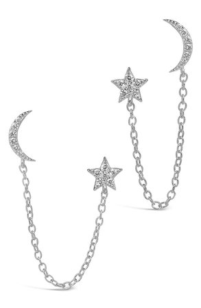 Sterling Forever Crescent & Star Double Stud Chain Earrings | Nordstrom