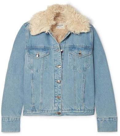 Faux Shearling-lined Denim Jacket - Mid denim