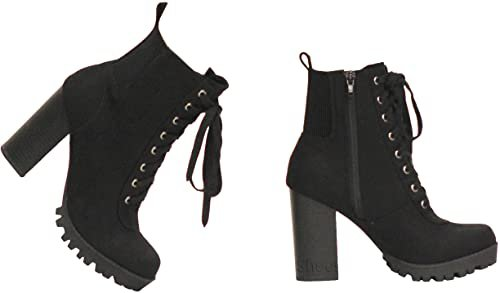 Amazon.com | MVE Shoes Womens Top Guy Stylish Comfortable Lace Up Block Heel Ankle Boot | Ankle & Bootie