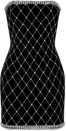 Balmain Velvet Embellished Bustier Dress