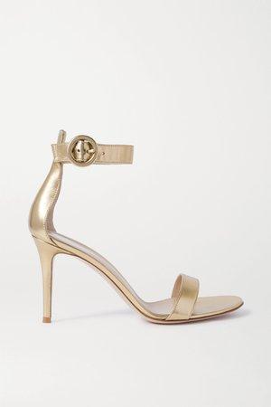 Gold Portofino 85 metallic leather sandals   Gianvito Rossi   NET-A-PORTER