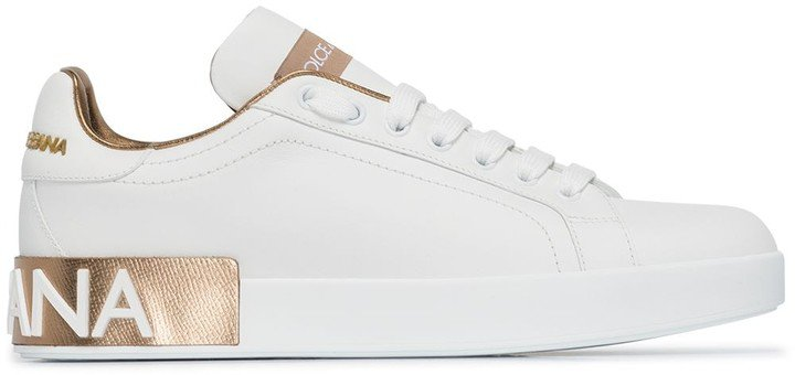 White Portofino leather logo sneakers