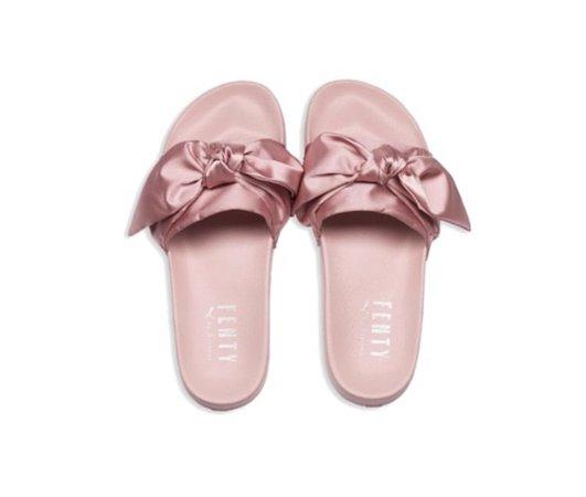"""pink """"Fenty"""" slides"""