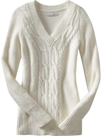 White Cable-Knit Sweater (Women's)