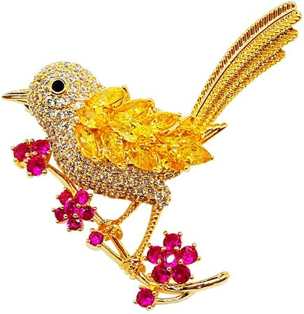Amazon.com: Brooches for Women Fashion Animal Bird Yellow Pink Flower Sweet Lovely Style: Clothing