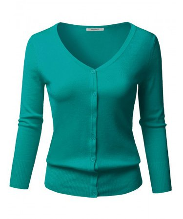 Women's Solid Button Down V-Neck 3/4 Sleeves Knit Cardigan | 22 Teal