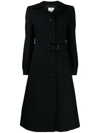 Shop black Gucci Belted wool coat with Express Delivery - Farfetch
