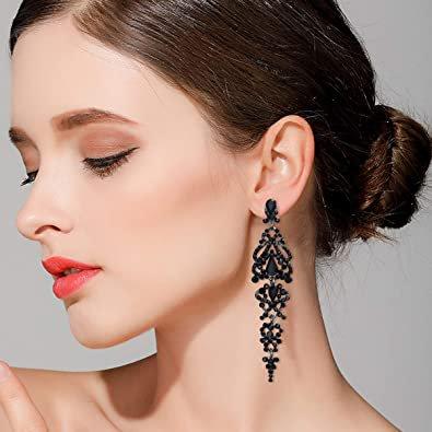 BriLove Wedding Bridal Dangle Earrings for Women Crystal Cluster Teardrop Earrings Black Black-Silver-Tone