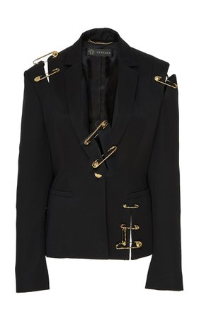 Safety Pin Wool Blazer by Versace | Moda Operandi