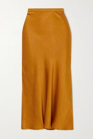Gold Bar silk-satin midi skirt   Anine Bing   NET-A-PORTER