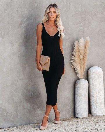 Melbourne Ribbed Knit Midi Dress - Black – VICI