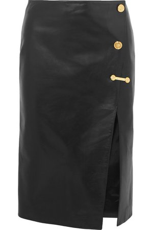 Versace | Embellished leather skirt | NET-A-PORTER.COM