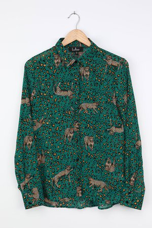 Emerald Green Top - Long Sleeve Blouse - Chic Leopard Print Top