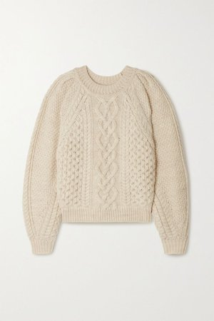 Ecru Romy cable-knit wool sweater | Isabel Marant Étoile | NET-A-PORTER