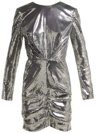 Sequin Ruched Mini Dress - Womens - Silver