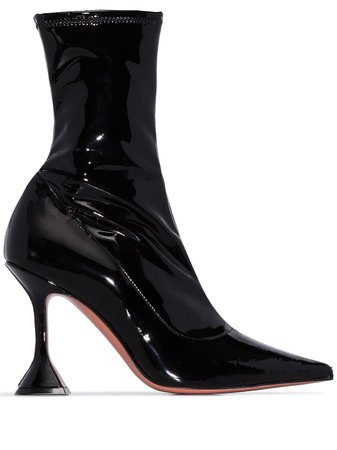 Amina Muaddi high-shine Heeled Ankle Boots - Farfetch