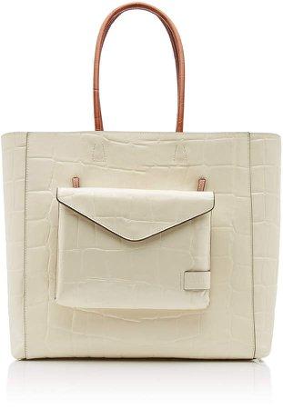 Linda Croc-Embossed Leather Tote Bag