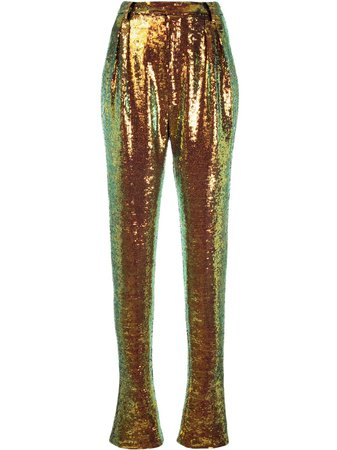 Shop multicolour LAPOINTE high-rise sequin trousers with Express Delivery - Farfetch
