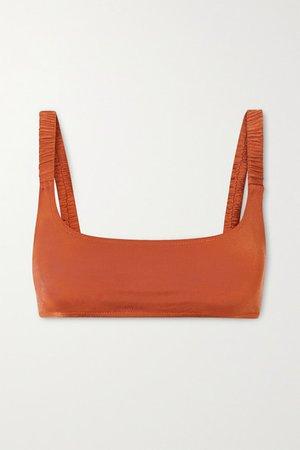 Colombier Ruched Bikini Top - Orange