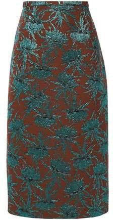 Metallic Floral-jacquard Pencil Skirt