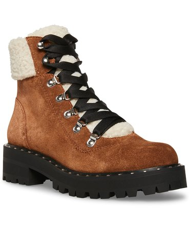 Steve Madden Women's Receptive Lace-Up Hiker Booties & Reviews - Boots - Shoes - Macy's
