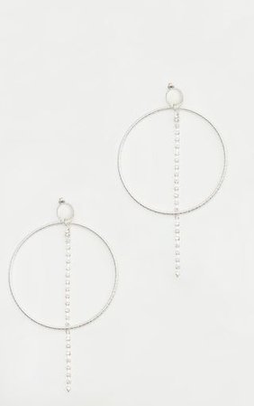Silver Diamante Hoop Line Earrings | PrettyLittleThing USA