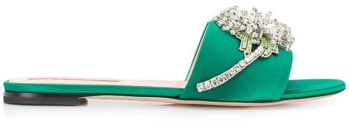 crystal embellished slide sandals
