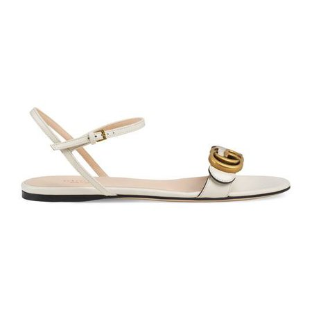 Leather sandal with Double G - Gucci Flat Sandals 524631A3N009022