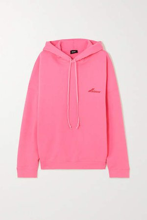 Oversized Appliqued Printed Cotton-jersey Hoodie - Pink