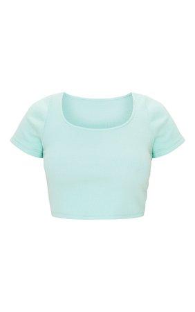 Green Marl Square Neck Rib Short Sleeve Crop Top | PrettyLittleThing USA