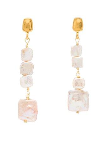 Brinker & Eliza gold-tone Pearl Drop Earrings - Farfetch