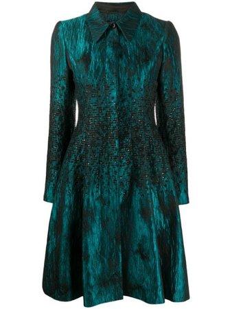 Green & black Talbot Runhof sequin jacquard coat - Farfetch