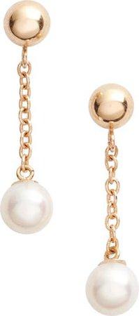 Poppy Finch Linear Drop Pearl Earrings   Nordstrom