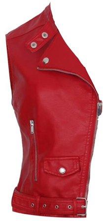 Red Leather Vest Jacket
